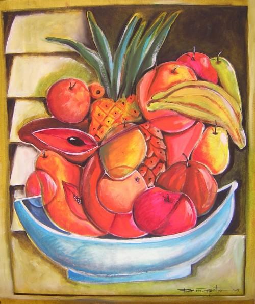 Frutas Cubanas, oil al pastel, 18 x 22