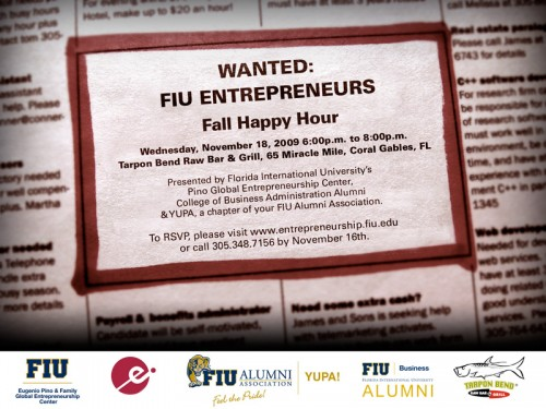 Fall Alumni Entrepreneur Happy Hour invitation