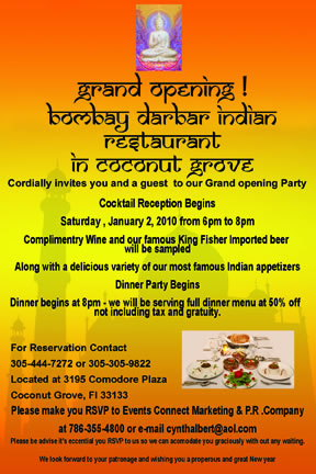 Grand opening bombay darbar indian restaurant 1210 the soul of miami stopboris Gallery