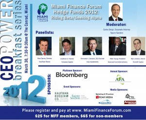 The Miami Finance Forum CEO Power Breakfast Hedge Funds 2012