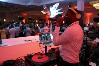 DJ Irie on the turntables.