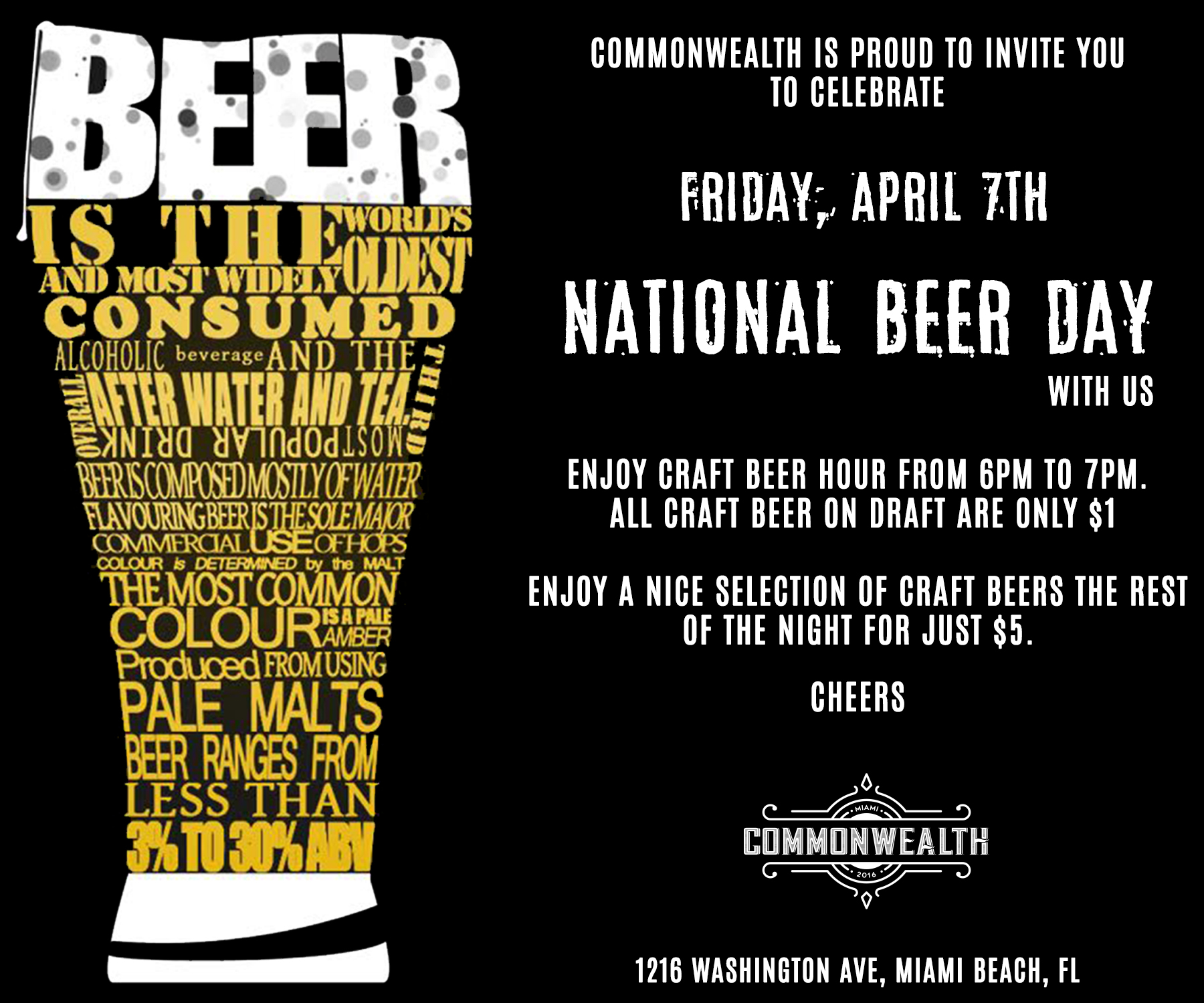 Commonwealth Celebrates National Beer Day With Dollar Beers 4 7 17 The Soul Of Miami